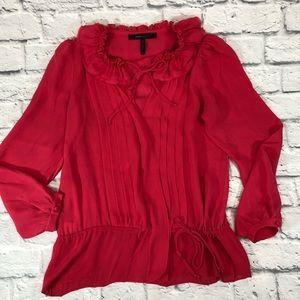 BCBGMAXAZRIA ruffled silk blouse. Fuschia pink. XS